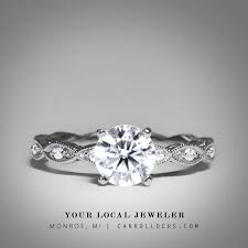 Engagement Rings Brilliant Round Cut Diamond Vintage Style Simple Ring In 14 Karat White Gold