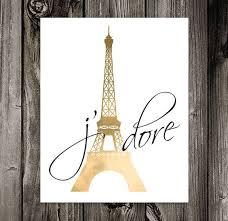 Paris Art Eiffel Tower Decor Bedroom Wall French Quote Jadore PRINTABLE 8x10 Digital Download