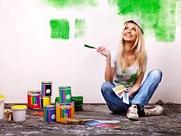 Builder Woman Paint Wall Paintbrush Repair Home Roller