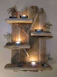 Charming Unique Driftwood Shelves Solid Rustic Shabby Chic Nautical Artwork White Wall Tree Brach With Led