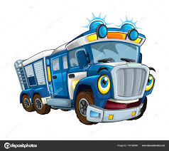 Cartoon Funny Looking Cargo Police Truck Trailer Isolated ...