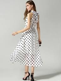 white polka dot cut away tie front high neck designer maxi dress