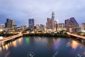 100 Austin City View Of Downtown Illuminated At Night Texas United States