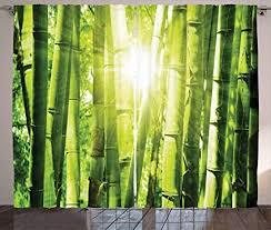 abakuhaus bambus rustikaler gardine sonnenstrahlen im wilden dschungel schlafzimmer kräuselband vorhang mit schlaufen und haken 280 x 245 cm