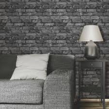 Fine Decor Rustic Brick Wallpaper In Black Grey And Silver