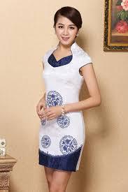 blue u0026 white formal dress chinese style clothing short cheongsam