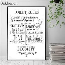 lustige badezimmer regeln zeichen leinwand malerei wand kunst wc regeln print malerei nordic poster drucken wand bilder für bad