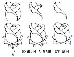 Easy Rose Drawing Steps How To Draw Flowers Step With Regard A Flower