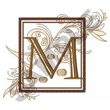 FANCY SQUARE LETTER M Embroidery Design