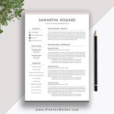 Clean Resume Template 2019-2020, Cover Letter, CV Template Word, Modern  Resume, Professional Resume, The Samantha Resume