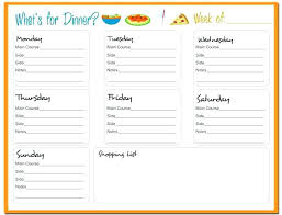 Party Menu Planner Template Meal