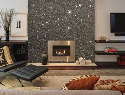 Gunmetal Grey Glitter Wallpaper Featured On A Chimney Breast Wall 5 Metres Of Used