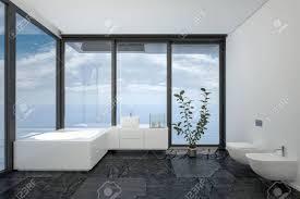 badezimmer des hotelzimmers oder penthouse in minimalistische interieur schwarz weiß design mit vom boden bis zur decke panoramafenster und