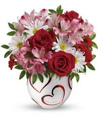 Red Roses Pink Alstroemeria Miniature Carnations And White Daisy In Teleflora Happy Hearts Bowl