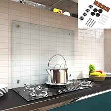 melko spritzschutz herdblende aus glas für küche herd fliesen 6 mm esg sicherheitsglas küchenrückwand inkl schrauben 80 x 60 cm klarglas