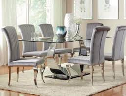 Dining Table Chairs Chrome Plated Coaster Bellagio Furniture Store Houston Texas