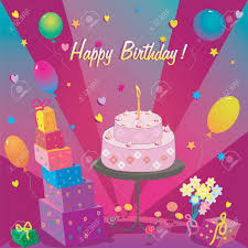 template for happy birthday card with cake and ballon