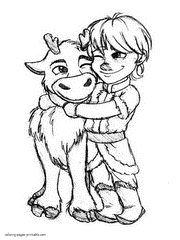 Frozen Colouring In Pages Coloring Book Little Kristoff And Sven