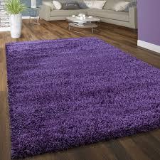 hochflor teppich kuschelig uni farben lila