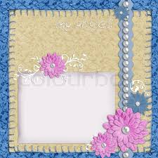 Scrapbook Layout In Blue And Beige Colors With Paper Pearls Flowers