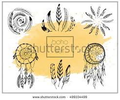 Big Cute Set Of Hand Drawing Feathers And Dream Catcher On Watercolor Background Vector Illustration