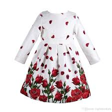 baby dress long sleeve rose petals flower gilrs clothes kids