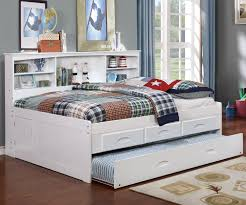 White Full Size Bookcase Captain s Day Bed with Trundle 0223