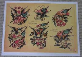 SAILOR JERRY Collins TATTOO Flash Sheet 4X EAGLES FLAG For Sale