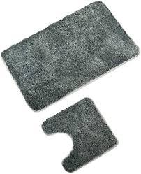 wohndirect badematten set wc vorleger 45x45cm badematte 60x100cm rutschfest waschbar badezimmerteppich mit wc ausschnitt grau
