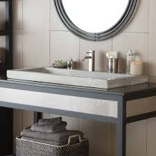 Trough Sink With Two Faucets by Trough 3619 Nativestone Rectangular Bathroom Sink Native Trails