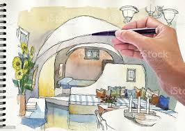zeichnen und malen aquarell illustration mediterranen wohnzimmer stockfoto und mehr bilder altertümlich