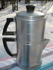 Vintage Wear Ever Aluminum Drip Coffee Pot Deco Style Bakelite Handles 4 Cup