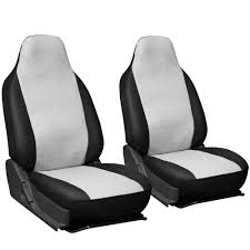 Oxgord Tactical Floor Mats by 2pc Pu Leather White Integrated High Back Bucket Car Seat Covers