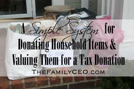 a simple system for donating household items and valuing them for