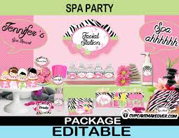 1000 Select Options Girls Spa Day Printable Birthday Package