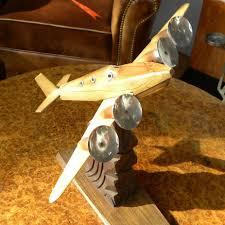 Airplane Lamp Art Deco by Chrome Model Original French Wood Plane Art Deco 1930 U0027s Modernism