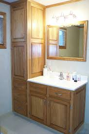Unfinished Pine Bathroom Wall Cabinet by Unfinished Pine Wood Vanity With Smoky White Marble Sink And