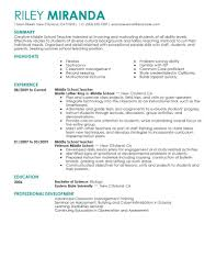 Sample Special Education Teacher Resume Last For Elementary Zq A21801