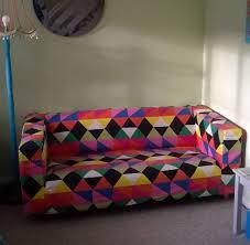 ikea randviken klippan sofa cover colourful geo design funky retro