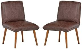 Rivet Wide Cushion Mid-Century Top-Grain Leather 2-Pack Accent Dining  Chairs, 26.8