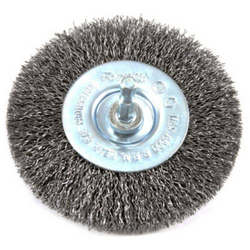 Forney Industries 72739 Stem Mounted Coarse Crimped Wire Wheel Brush - 4""