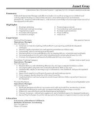 Resume Examples For Executives Operations Manager Sample Profile Executive