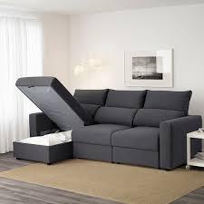 eskilstuna 3er sofa mit récamiere hillared anthrazit ikea