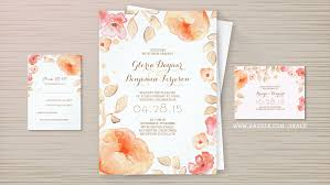 Painted Watercolor Floral Wreath Frame Wedding Invitations Rustic