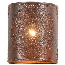 punched tin sconce l handcrafted chisel pattern wall light in