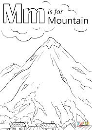 Mountain Coloring Page Letter M Is For Free Printable Pages Gallery Ideas
