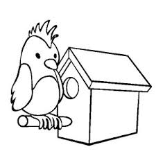 Parrot Bird House Coloring Pages