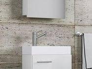 vcm waschplatz waschbecken schrank spiegelschrank wc gäste toilette badmöbel honig eiche