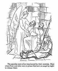 An Angel Releases Peter And John From Prison By Putting The Guards To Sleep Bible Coloring PagesBible