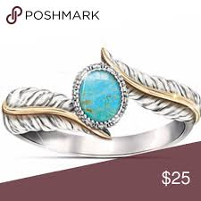 925 Silver 18K Gold Turquoise Feather Ring